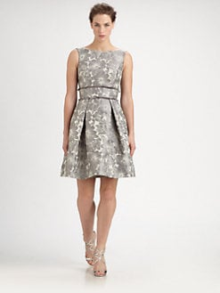 Theia - Floral Jacquard Dress