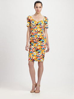Theia - Pleated Floral-Print Stretch Dress