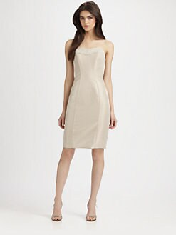 Theia - Lace-Trimmed Strapless Dress