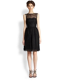 Theia - Silk-Blend Belted Lace Dress