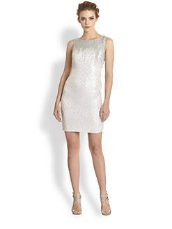 Theia - Paillette-Embellished Silk Dress