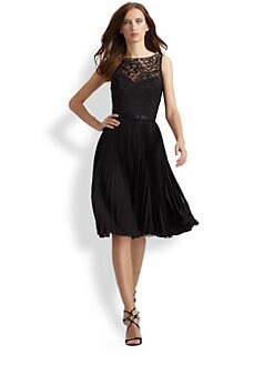 Theia - Pleated Lace Dress
