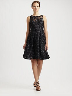 Theia - Embroidered Cocktail Dress