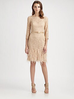 Theia - Feather-Trimmed Dress
