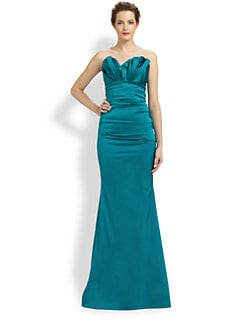 Theia - Asymmetrical Structured-Bodice Satin Gown