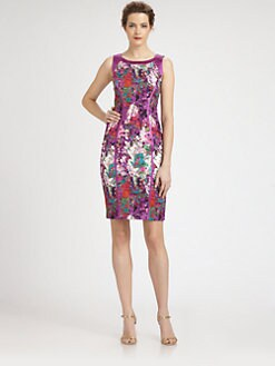 Theia - Satin-Trimmed Floral-Print Stretch Cotton Dress