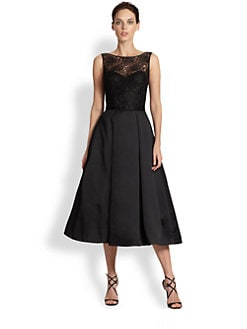 Theia - Lace-Top Belted Satin Dress