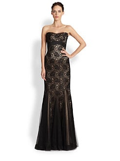 Theia - Strapless Beaded Lace Gown