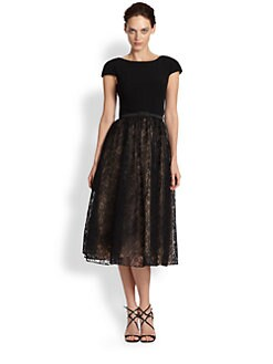 Theia - Belted Crepe & Glittered Lace Dress