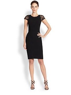 Theia - Lace-Paneled Scuba Body-Con Dress