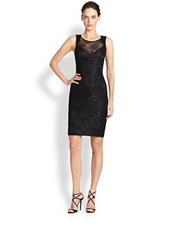 Theia - Sequined Lace Dress