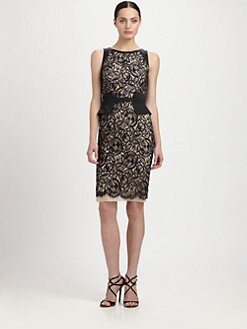 Theia - Peplum-Belted Lace Dress