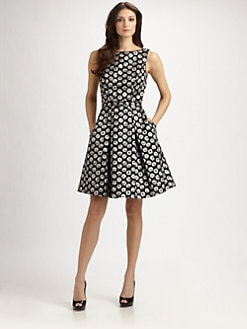 Theia - Belted Jacquard Dress