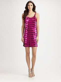 Theia - Sequined Mesh Dress