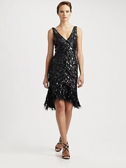 Theia - Beaded-Fringe Dress