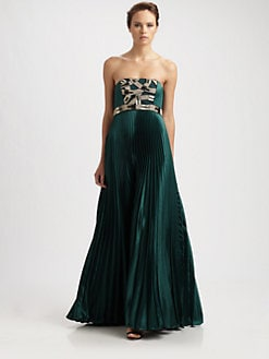 Theia - Satin Strapless Gown