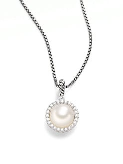 David Yurman - White Freshwater Pearl, Diamonds & Sterling Silver Necklace