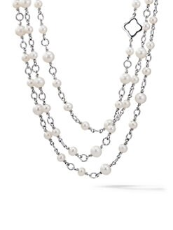 David Yurman - Sterling Silver & Pearl Cable Link Necklace