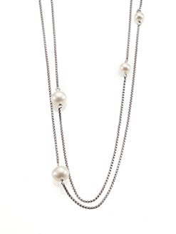 David Yurman - Pearl & Sterling Silver Long Station Necklace