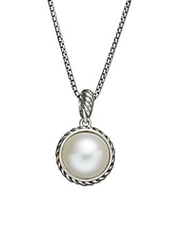 David Yurman - White Freshwater Pearl & Sterling Silver Cable Necklace
