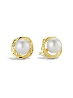 David Yurman - White Freshwater Pearl & 18K Yellow Gold Earrings