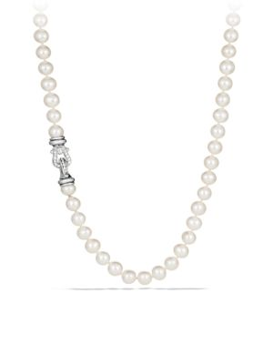 """Sterling Silver & White Cultured Freshwater Pearl Necklace With Diamonds/18"""""""