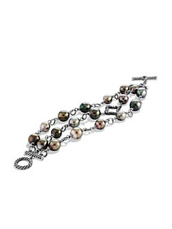 David Yurman - Diamond Accented 11MM Tahitian Pearl Three-Row Bracelet