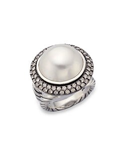 David Yurman - Diamond Accented White Mabe Pearl Ring/Large