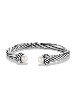 David Yurman - Pearl, Diamond & Sterling Silver Cuff Bracelet