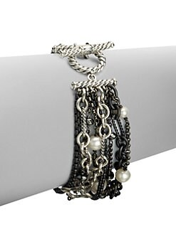 David Yurman - Hematite & Pearl Sterling Silver Multi-Row Bracelet