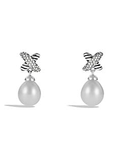 David Yurman - Pearl, Diamond & Sterling Silver Drop Earrings