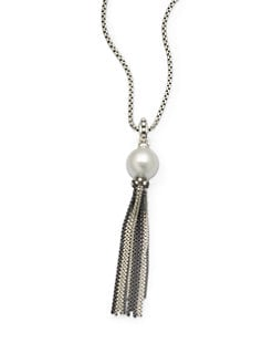 David Yurman - Diamond Accented 15MM White Pearl Tassel Pendant Necklace