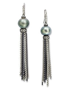 David Yurman - Diamond, Tahitian Pearl & Sterling Silver Tassel Earrings