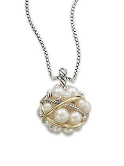 David Yurman - Diamond & 18K Gold Accented 3.5MM-7MM White Round Freshwater Pearl Bubble Pendant Necklace