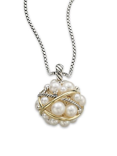 Pearl Crossover Small Cluster Pendant with Diamonds and Gold on Chain