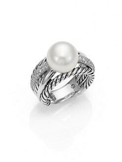 David Yurman - Pearl, Diamond & Sterling Silver Ring