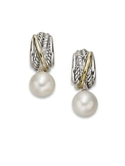 David Yurman - Diamond & 18K Gold Accented 9.5MM-10MM White Round Freshwater Pearl Drop Earrings