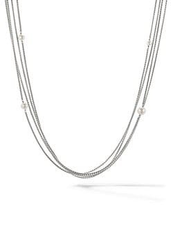 David Yurman - Pearl & Sterling Silver Multi-Row Station Necklace