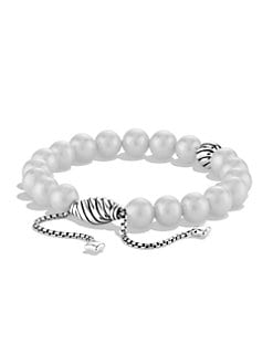 David Yurman - 8MM White Pearl & Sterling Silver Bracelet