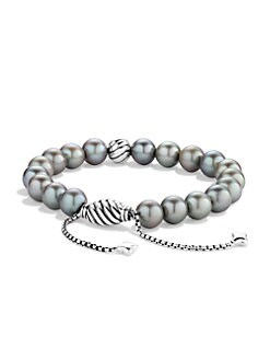 David Yurman - 8MM Grey Pearl & Sterling Silver Bracelet