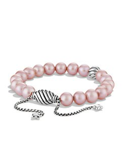 David Yurman - 8MM Pink Pearl & Sterling Silver Bracelet