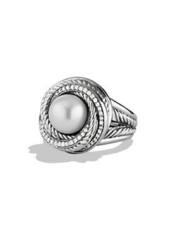 David Yurman - Pearl & Diamond Sterling Silver Ring