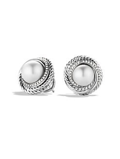 David Yurman - 10MM Round White Pearl & Diamond Button Earrings