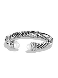 David Yurman - White Pearl & Diamond Sterling Silver Bangle Bracelet