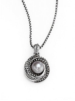 David Yurman - 10MM-10.5MM Grey Pearl, Diamond & Sterling Silver Pendant Necklace