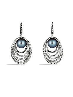 David Yurman - Grey Pearl, Diamond & Sterling Silver Earrings