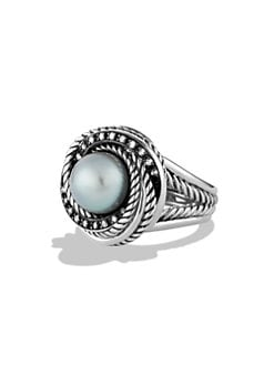 David Yurman - Grey Pearl, Diamond & Sterling Silver Ring