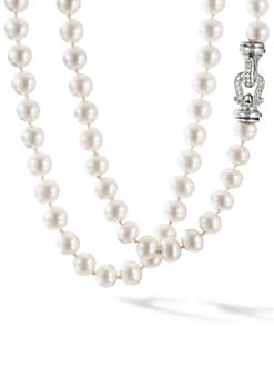 David Yurman - 8MM-8.5MM White Pearl, Diamond & Sterling Silver Strand