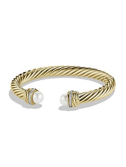 David Yurman - 18K Gold, Diamond & Pearl Bangle Bracelet