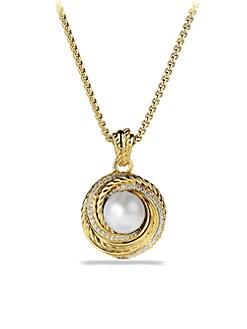 David Yurman - Pearl, Diamond & 18K Gold Pendant Necklace